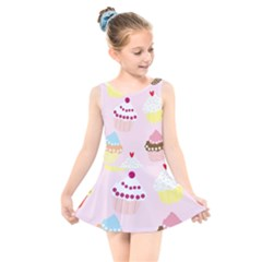 Cupcakes Wallpaper Paper Background Kids  Skater Dress Swimsuit