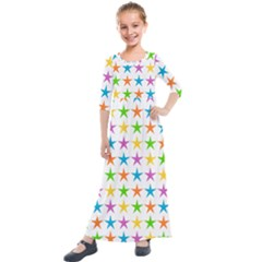 Star Pattern Design Decoration Kids  Quarter Sleeve Maxi Dress by Pakrebo