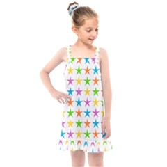 Star Pattern Design Decoration Kids  Overall Dress