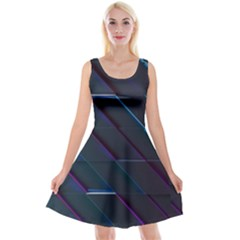 Glass Scifi Violet Ultraviolet Reversible Velvet Sleeveless Dress by Pakrebo