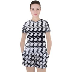 Pattern Monochrome Repeat Women s Tee And Shorts Set