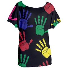 Handprints Hand Print Colourful Women s Oversized Tee