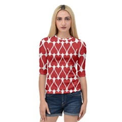 Hearts Pattern Seamless Red Love Quarter Sleeve Raglan Tee