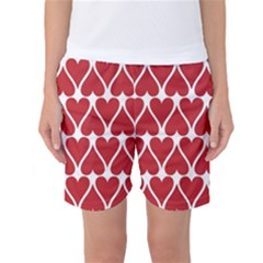 Hearts Pattern Seamless Red Love Women s Basketball Shorts