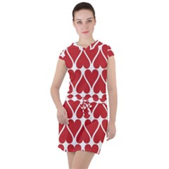 Hearts Pattern Seamless Red Love Drawstring Hooded Dress