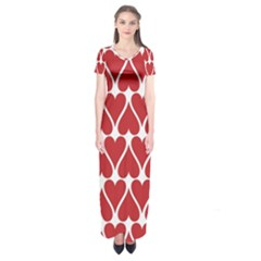 Hearts Pattern Seamless Red Love Short Sleeve Maxi Dress