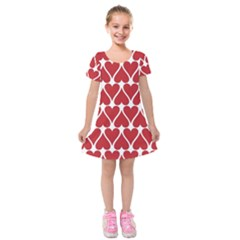 Hearts Pattern Seamless Red Love Kids  Short Sleeve Velvet Dress