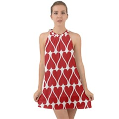 Hearts Pattern Seamless Red Love Halter Tie Back Chiffon Dress by Pakrebo