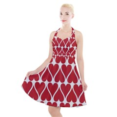 Hearts Pattern Seamless Red Love Halter Party Swing Dress