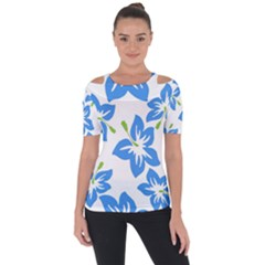 Hibiscus Wallpaper Flowers Floral Shoulder Cut Out Short Sleeve Top by Pakrebo