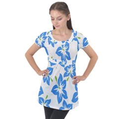 Hibiscus Wallpaper Flowers Floral Puff Sleeve Tunic Top