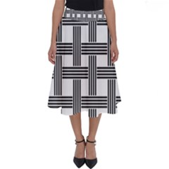 Seamless Stripe Pattern Lines Perfect Length Midi Skirt