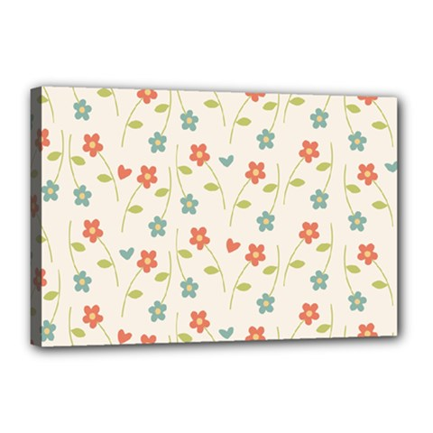Floral Pattern Wallpaper Retro Canvas 18  X 12  (stretched)