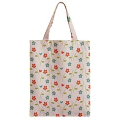 Floral Pattern Wallpaper Retro Zipper Classic Tote Bag