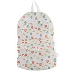 Floral Pattern Wallpaper Retro Foldable Lightweight Backpack
