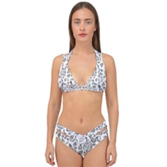Tropical Pattern Double Strap Halter Bikini Set by Valentinaart
