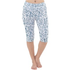 Tropical Pattern Lightweight Velour Cropped Yoga Leggings