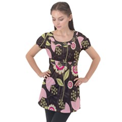 Flowers Wallpaper Floral Decoration Puff Sleeve Tunic Top