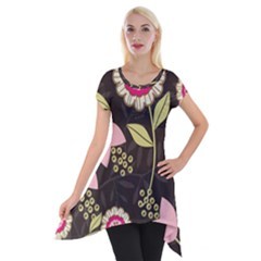 Flowers Wallpaper Floral Decoration Short Sleeve Side Drop Tunic by Pakrebo