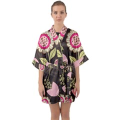 Flowers Wallpaper Floral Decoration Quarter Sleeve Kimono Robe