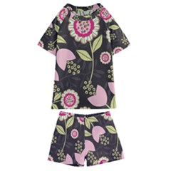 Flowers Wallpaper Floral Decoration Kids  Swim Tee And Shorts Set by Pakrebo