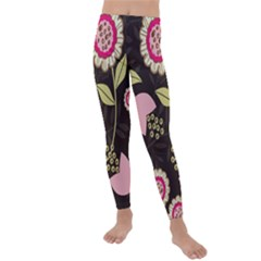 Flowers Wallpaper Floral Decoration Kids  Lightweight Velour Leggings