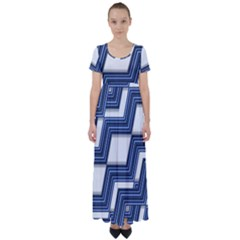 Geometric Fabric Texture Diagonal High Waist Short Sleeve Maxi Dress by Pakrebo
