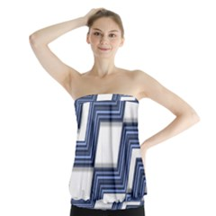Geometric Fabric Texture Diagonal Strapless Top