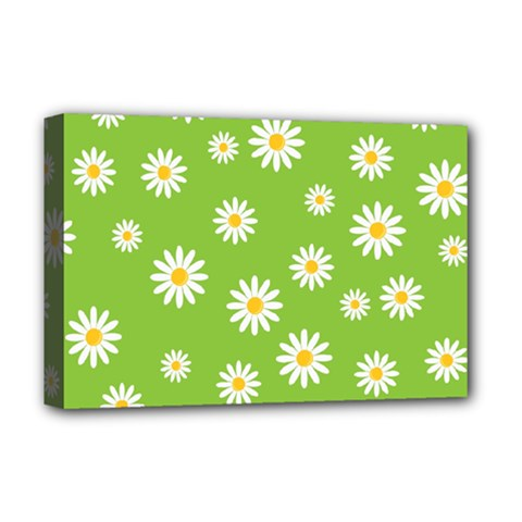 Daisy Flowers Floral Wallpaper Deluxe Canvas 18  X 12  (stretched) by Pakrebo