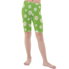 Daisy Flowers Floral Wallpaper Kids  Mid Length Swim Shorts