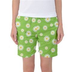 Daisy Flowers Floral Wallpaper Women s Basketball Shorts