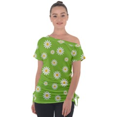 Daisy Flowers Floral Wallpaper Tie Up Tee