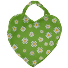 Daisy Flowers Floral Wallpaper Giant Heart Shaped Tote