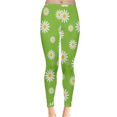 Daisy Flowers Floral Wallpaper Inside Out Leggings