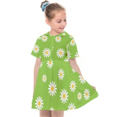 Daisy Flowers Floral Wallpaper Kids  Sailor Dress by Pakrebo