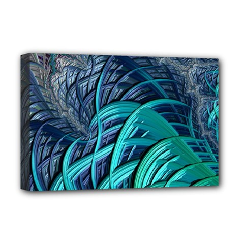 Oceanic Fractal Turquoise Blue Deluxe Canvas 18  X 12  (stretched)