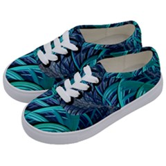 Oceanic Fractal Turquoise Blue Kids  Classic Low Top Sneakers by Pakrebo