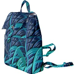 Oceanic Fractal Turquoise Blue Buckle Everyday Backpack