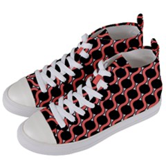 Between Circles Coral And Black Women s Mid Top Canvas Sneakers by TimelessFashion