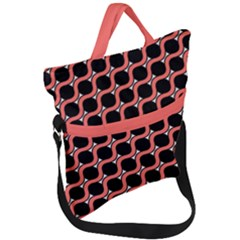 Between Circles Coral And Black Fold Over Handle Tote Bag by TimelessFashion