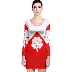 Flag Of Fourth United States Army Long Sleeve Velvet Bodycon Dress by abbeyz71