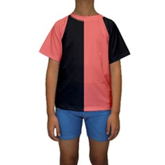 Black & Coral Kids  Short Sleeve Swimwear