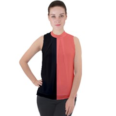 Black & Coral Mock Neck Chiffon Sleeveless Top