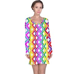 Rainbow Colors Chevron Design Long Sleeve Nightdress