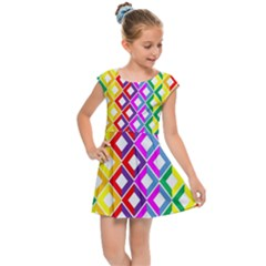 Rainbow Colors Chevron Design Kids  Cap Sleeve Dress