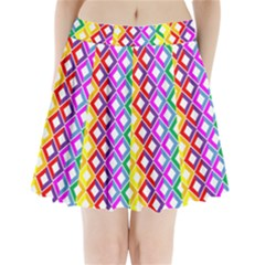 Rainbow Colors Chevron Design Pleated Mini Skirt