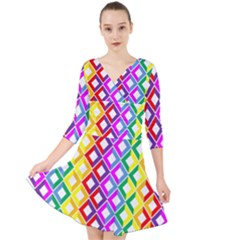 Rainbow Colors Chevron Design Quarter Sleeve Front Wrap Dress