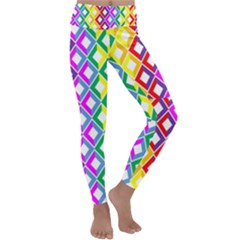 Rainbow Colors Chevron Design Kids  Lightweight Velour Classic Yoga Leggings