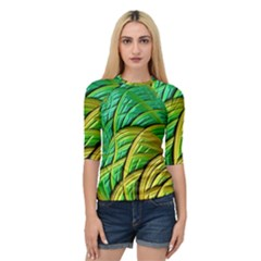 Patterns Green Yellow String Quarter Sleeve Raglan Tee