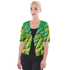 Patterns Green Yellow String Cropped Button Cardigan